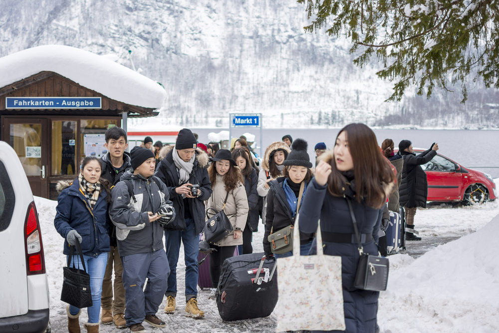 Chinese tourists Hallstatt, Austria