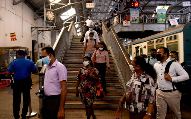 Commuters at the Colombo Fort Railway Station
